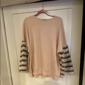 Light Pink Zara Sweater with Fur Detailed Sleeves